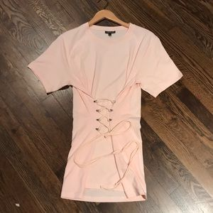 Pink lace up top nwot